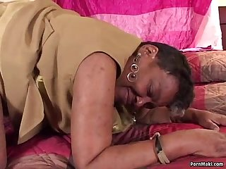 Ebony granny takes Black Cock