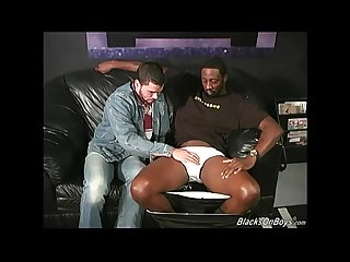 Bearded muscular guy gets banged by black men