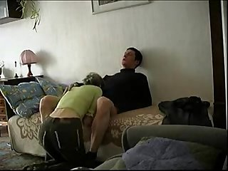 Older mature woman and young boy fucks in home