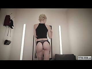 Teen blonde Ariel gets horny in a lingerie fitting room wearing stockings