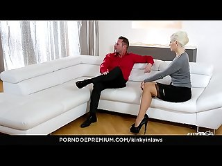 KINKY INLAWS - Stepmom fucks young dude and squirts all over